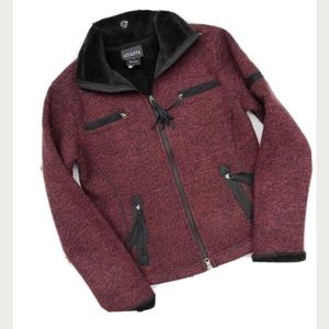 Athleta Knit Moto Jacket Fur Lined Burgundy Black